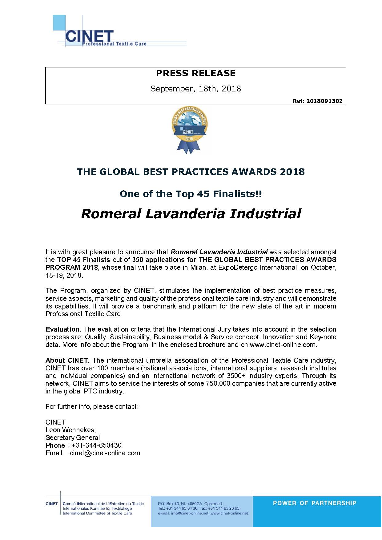 2018091302 PRESS RELEASE GBPA18 FINALIST ROMERAL